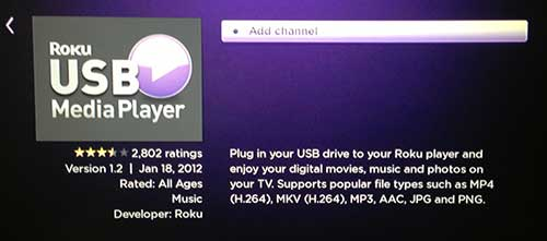 add the usb media player channel
