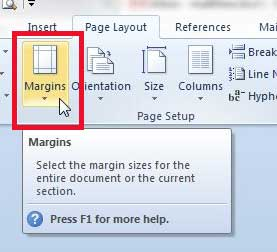 how to set default page margins in word 2010