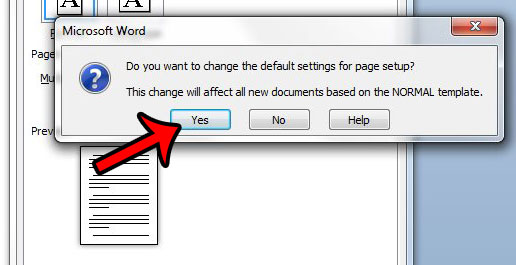 confirm the new default margin settings in word 2010