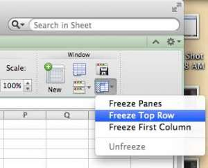 how to freeze the top row in excel 2011