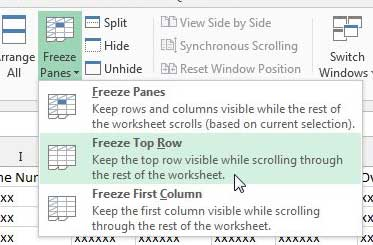 how to freeze the top row in excel 2013