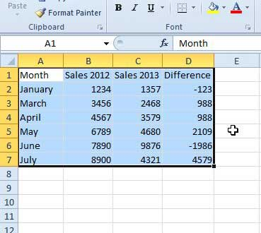 highlight the cells that you want to format