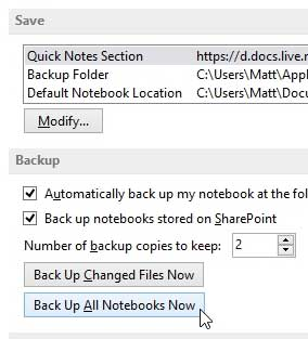 how to create a backup in onenote 2013