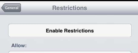 touch the enable restrictions button