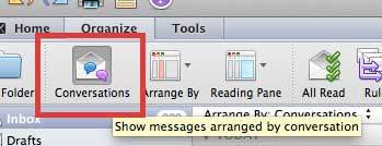 how to stop grouping messages by conversation in outlook 2011