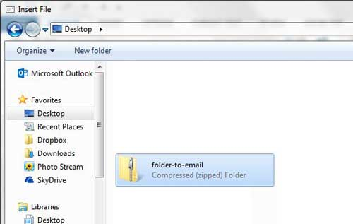 select the folder that you just zipped