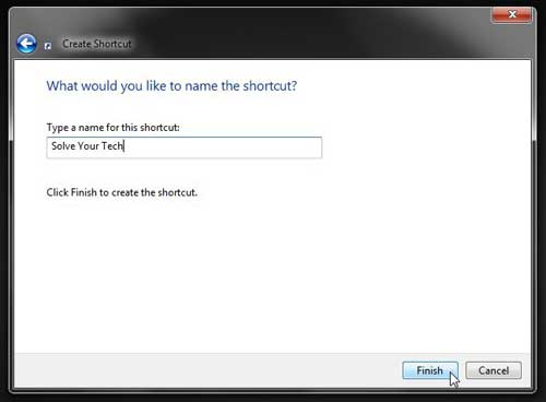 how to create a wbesite shortcut on the desktop in windows 7