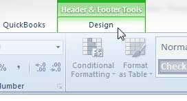 click the header and footer tools design tab