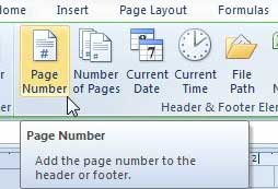 how to add a page number to the bottom in excel 2010