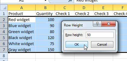 how to change the height for multiple rows in excel 2010