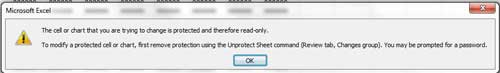 example error message when sheet is protected