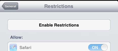 how to disable itunes access on the ipad 2