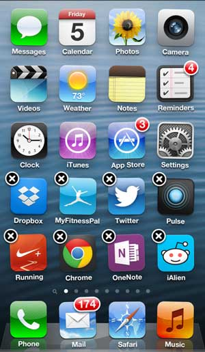 tap and hold the icon until all of the icons start shaking