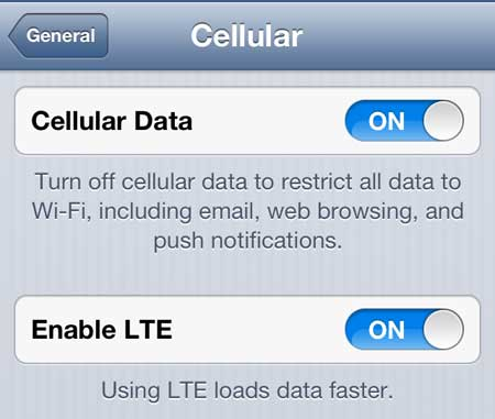 turn on the enable lte option