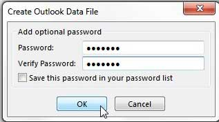 set a password for the exported file