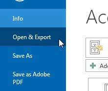 select the open and export option