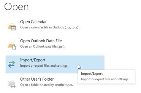 click the import/export option