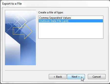 select the type of file you want to export