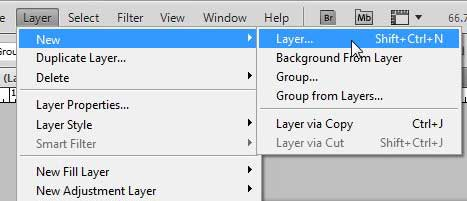 how to create a new layer in Photoshop CS5