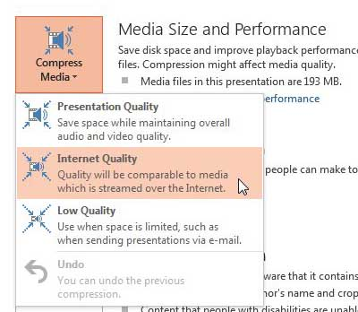 click compress media, then choose your preferred level of compression