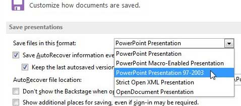 how to save as .ppt by default in powerpoint 2013