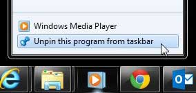 click the unpin this program from taskbar option