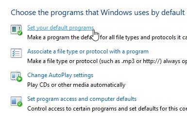 click set your default programs