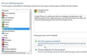 select google chrome, then click set this program as default