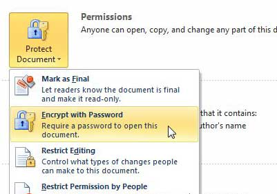 click the encrypt with password option