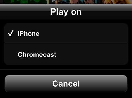 select the chromecast option