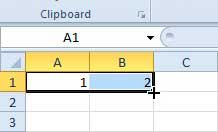 place your cursor on the bottom-right corner of the rightmost cell