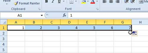 how to automatically number columns in Excel 2010