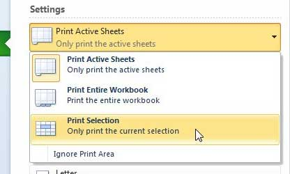 how to print a selection in excel 2010