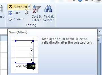 how to find the sum of a row in Excel 2010
