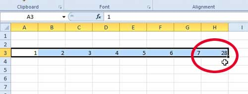 the sum will be inserted in the row to the right of the selected cells