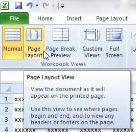 click the page layout option in the ribbon