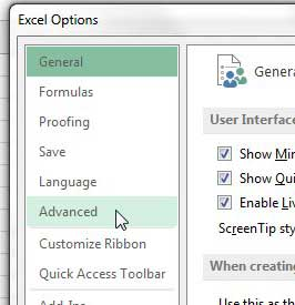Exceptional Click The Advanced Tab In The Excel Options Window