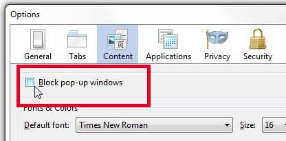 how to stop blocking pop-ups in firefox