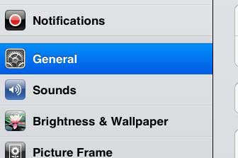 open the general menu on the ipad 2