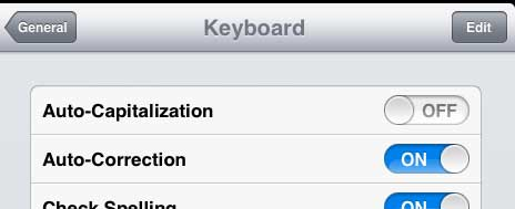how to stop auto-capitalization on the iPad 2