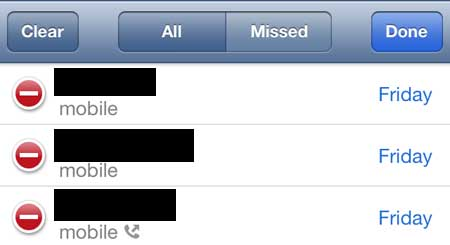 touch the red circle to the left of the call you want to delete