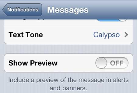 how to stop showing text message previews on iphone 5