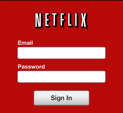 enter the email address and password associated with your netflix account