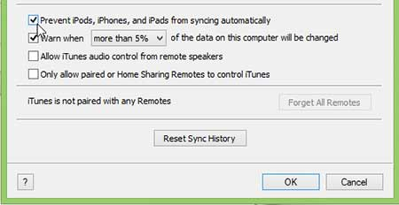 how to prevent iTunes from syncing automatically when you connect your phone