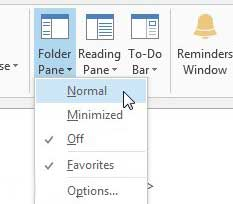 click the folder pane, then click the normal option