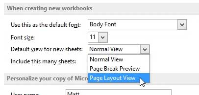 how to change the default view in excel 2013