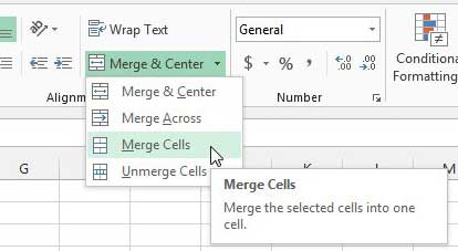 how to merge cells in Excel 2013