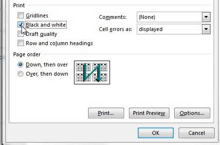How To Print In Black And White Excel 2013