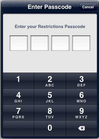 enter the restrictions passcode