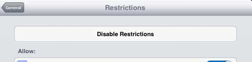 touch the disable restrictions button